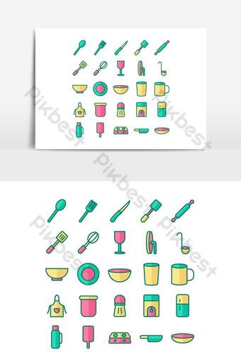 Kitchen icon set vector flat line for website, mobile app, presentation, social media. PNG Images Template EPS