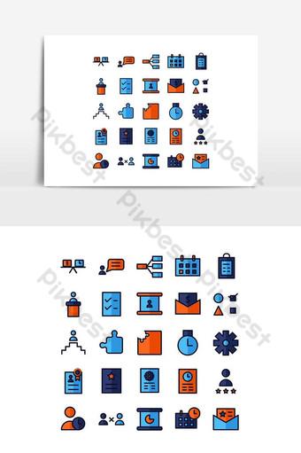 Jeu d'icônes de gestion de projet ligne plate de vecteur pour les médias de présentation d'application mobile de site Web Éléments graphiques Modèle AI