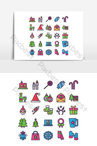 Jeu d'icônes de Noël ligne plate de vecteur pour les médias sociaux de présentation de l'application mobile de site Web Éléments graphiques Modèle AI