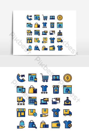 Jeu d'icônes de commerce électronique ligne plate de vecteur pour les médias sociaux de présentation d'application mobile de site Web Éléments graphiques Modèle AI