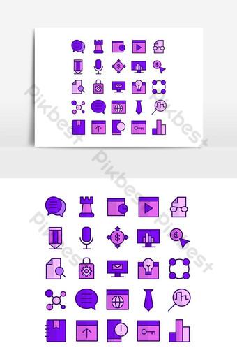 Seo icon set vector flat line for website, mobile app, presentation, social media. PNG Images Template AI