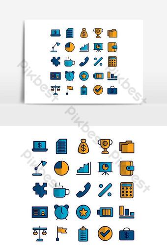 Ensemble d'icônes de bureau ligne plate de vecteur pour les médias sociaux de présentation d'application mobile de site Web Éléments graphiques Modèle AI