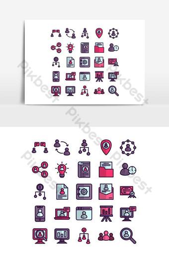 Icône de ressources humaines définie une ligne plate de vecteur pour la présentation de l'application mobile de site Web social Éléments graphiques Modèle AI