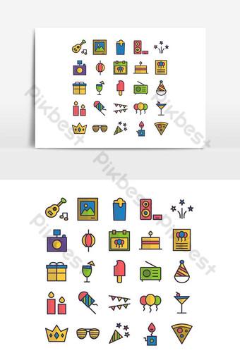 Ligne plate de vecteur de jeu d'icônes de partie pour les médias sociaux de présentation d'application mobile de site Web Éléments graphiques Modèle AI