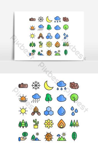 conjunto de iconos de naturaleza vector línea plana para sitio web presentación de aplicaciones móviles redes sociales Elementos graficos Modelo AI