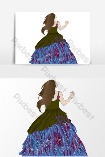 una chica sola con la ilustración de vector de plumas Elementos graficos Modelo AI