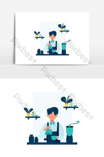 barista hacer y servir a los clientes en la ilustración de vector de tienda coffeeeeeee Elementos graficos Modelo AI