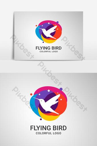 Logotipo de pájaro volador abstracto y estilizado con elemento de diseño creativo que fluye colorido Elementos graficos Modelo AI