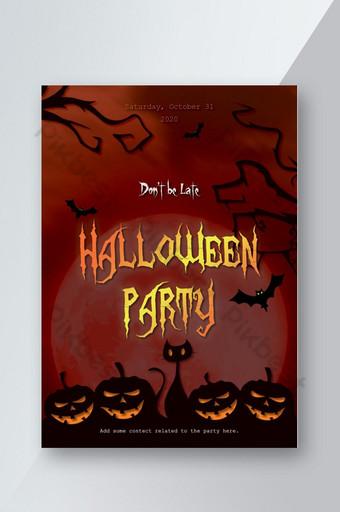 Flyer classique de fête d'Halloween au clair de lune Modèle PSD