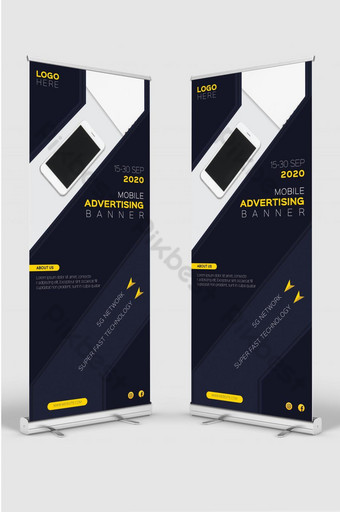 Mobile advertising banner roll up design template for smart phone sale promotion Template AI