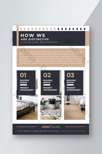 Modèle de flyer de design d'intérieur immobilier Modèle EPS