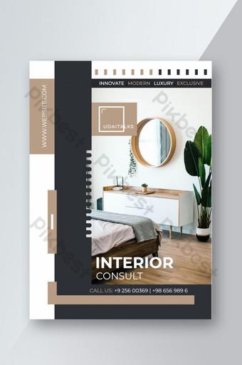 Modèle de flyer de design d'intérieur architectural Modèle EPS
