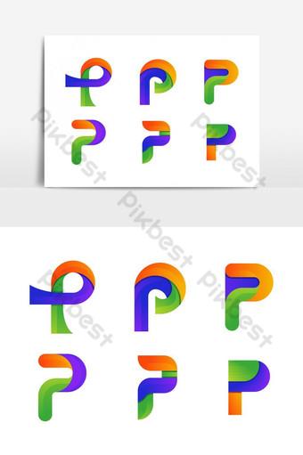 Resumen creativo colorido gradiente p carta logo vector p carta logo Elementos graficos Modelo EPS
