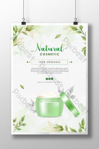 cartel de crema cosmética natural realista Modelo PSD