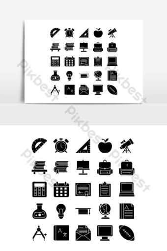 escuela icono conjunto vector sólido para sitio web aplicación móvil presentación redes sociales Elementos graficos Modelo EPS