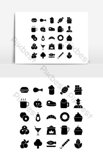 Jeu d'icônes de nourriture vecteur solide pour les médias sociaux de présentation de l'application mobile de site Web Éléments graphiques Modèle EPS