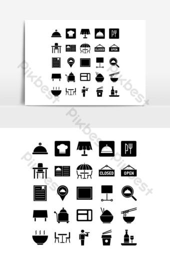 restaurant icon set vector solid for website, mobile app, presentation, social media. PNG Images Template EPS