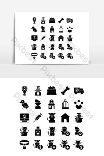 Jeu d'icônes pour animaux de compagnie vecteur solide pour les médias sociaux de présentation de l'application mobile de site Web Éléments graphiques Modèle EPS
