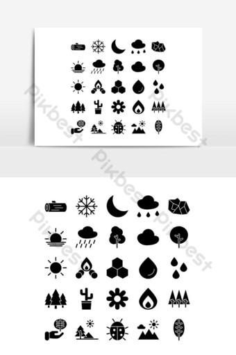 conjunto de iconos de naturaleza vector sólido para sitio web presentación de aplicaciones móviles redes sociales Elementos graficos Modelo EPS