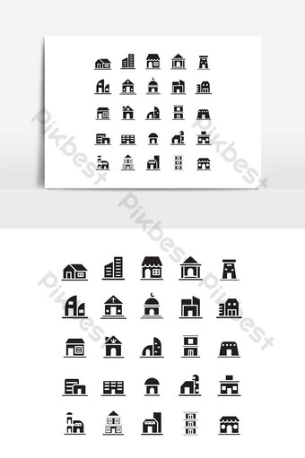 edificio icono conjunto vector sólido para sitio web presentación de aplicaciones móviles redes sociales Elementos graficos Modelo EPS