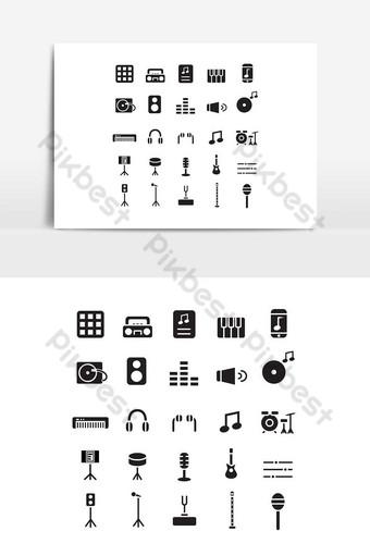Icône de musique définie vecteur solide pour les médias sociaux de présentation de l'application mobile de site Web Éléments graphiques Modèle EPS