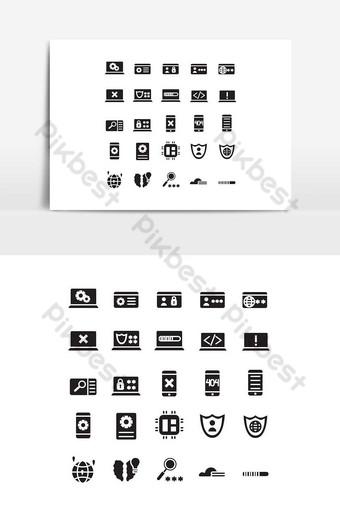 conjunto de iconos de programación vector sólido para presentación de aplicaciones móviles de sitios web redes sociales Elementos graficos Modelo EPS