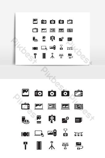 Jeu d'icônes de photographie vecteur solide pour les médias sociaux de présentation de l'application mobile de site Web Éléments graphiques Modèle EPS