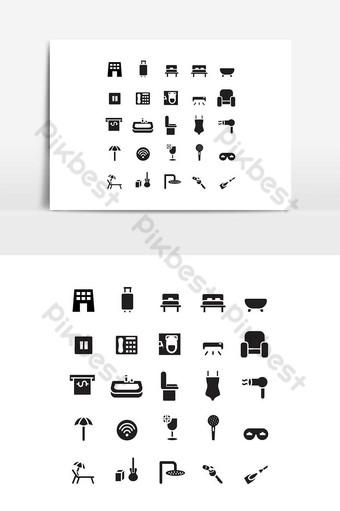 Icône de l'hôtel définie vecteur solide pour les médias sociaux de présentation de l'application mobile de site Web Éléments graphiques Modèle EPS