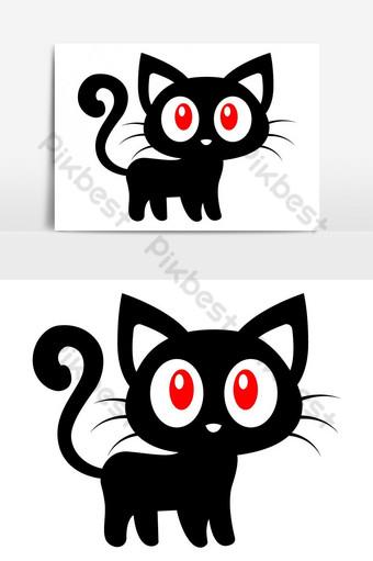 silueta de gato asustadizo de halloween Elementos graficos Modelo EPS