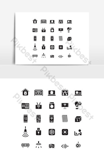 conjunto de iconos de casa inteligente vector sólido para presentación de aplicaciones móviles de sitios web redes sociales Elementos graficos Modelo EPS