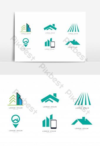 Real Estate, Construction Logo Design Set - Vector Template PNG Images Template EPS