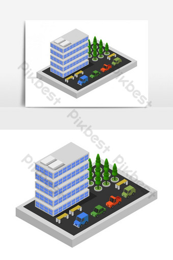 rascacielos isométrico ilustrado en vector Elementos graficos Modelo EPS