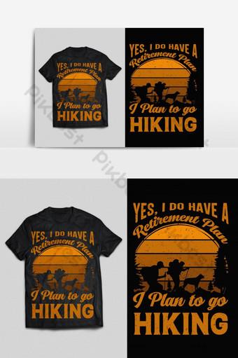 warna-warni hiking tipografi vektor cetak siap t shirt desain psd eps png Elemen Grafis Templat EPS