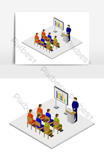 sala de conferencias isométrica ilustrada en vector Elementos graficos Modelo EPS