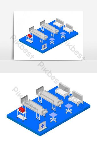 sala de hospital isométrica ilustrada en vector Elementos graficos Modelo EPS