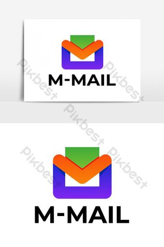 colorido m mail icónico diseño de logotipo vector ui icono de correo Elementos graficos Modelo EPS