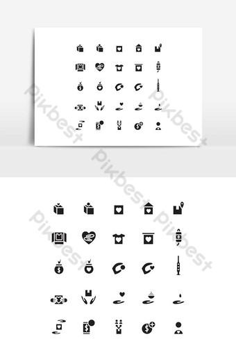 conjunto de iconos de caridad vector sólido para sitio web presentación de aplicaciones móviles redes sociales Elementos graficos Modelo EPS