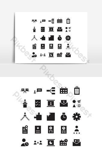 Jeu d'icônes de gestion de projet vecteur solide pour les médias de présentation de l'application mobile de site Web Éléments graphiques Modèle EPS