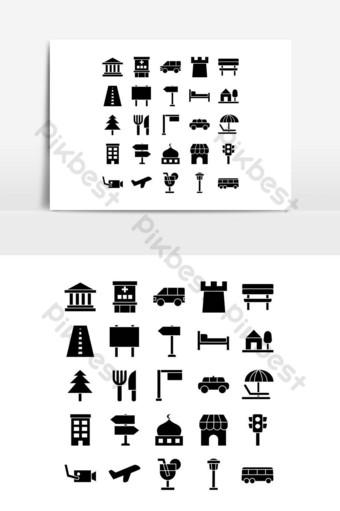 ciudad icono conjunto vector sólido para sitio web aplicación móvil presentación redes sociales Elementos graficos Modelo EPS