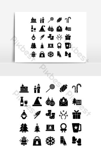 Jeu d'icônes de Noël vecteur solide pour les médias sociaux de présentation de l'application mobile de site Web Éléments graphiques Modèle EPS
