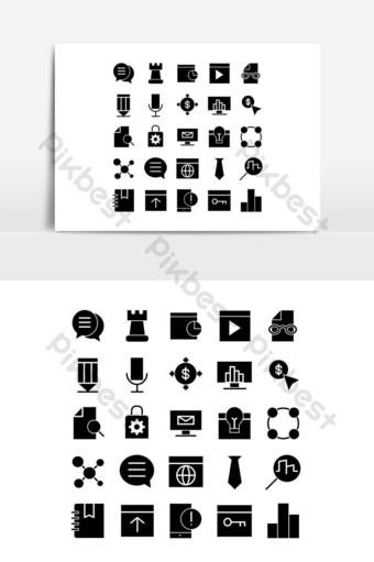 Seo icon set vector solid for website, mobile app, presentation, social media. PNG Images Template EPS