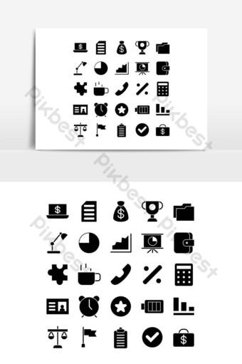 Ensemble d'icônes de bureau vecteur solide pour les médias sociaux de présentation de l'application mobile de site Web Éléments graphiques Modèle EPS