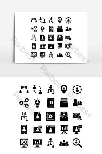 Icône de ressources humaines définie vecteur solide pour les médias sociaux de présentation de l'application mobile de site Web Éléments graphiques Modèle EPS