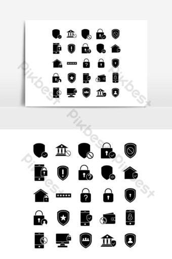 conjunto de iconos de seguridad vector sólido para presentación de aplicaciones móviles de sitios web redes sociales Elementos graficos Modelo EPS