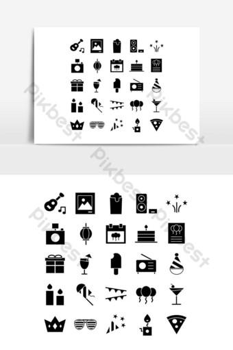 Icône de partie définie vecteur solide pour les médias sociaux de présentation de l'application mobile de site Web Éléments graphiques Modèle EPS