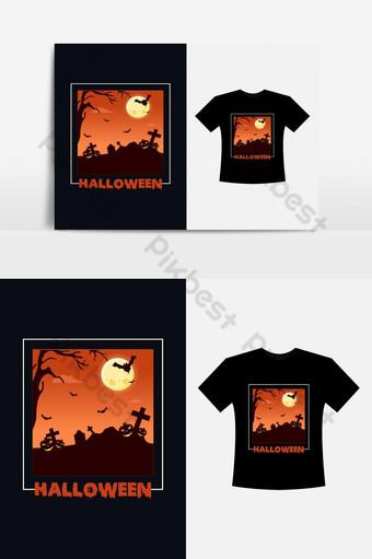 هالوين تصميم تي شيرت لمحبي الرعب مع شجرة الخفافيش القمر الكامل ومفهوم اليقطين صور PNG قالب EPS