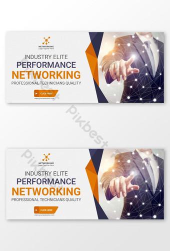 Redes corporativas creativas con banner web de anuncios de banner empresarial de color azul naranja Modelo AI