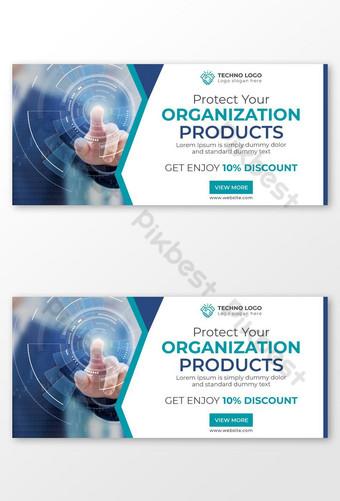 Technologie d'entreprise créative avec bannières Web Blue Business Banner Ads ou annonces Google Modèle AI