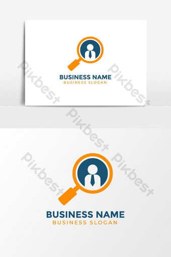 Business Employee Search Logo with magnifying glass Symbol PNG Images Template AI