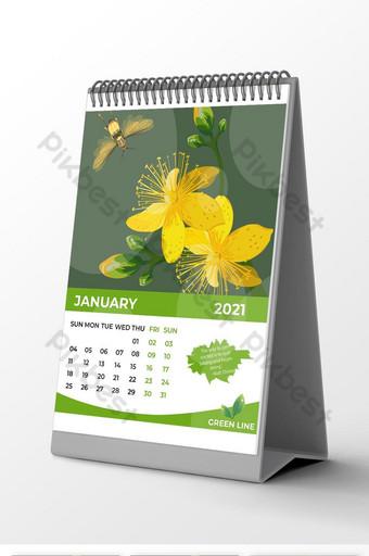 تقويم مكتب الشركة باللون الأخضر الطبيعي لعام 2021 قالب EPS
